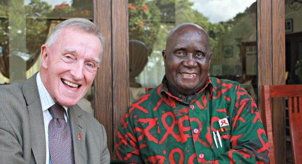 Fr Michael J. Kelly SJ with Kenneth Kaunda, first President of Zambia.